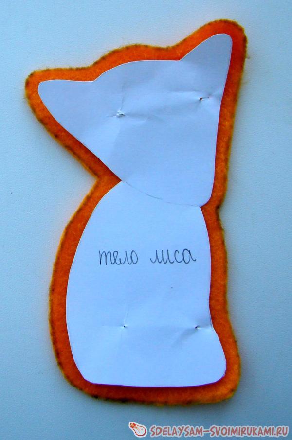 Яркая рыжая лисичка из фетра