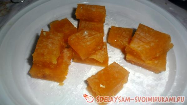 Home-made jelly candies made from apricots