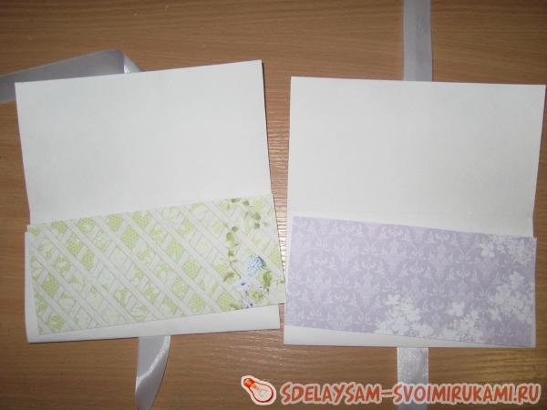 Лиловые свадебные конверты ручной работы