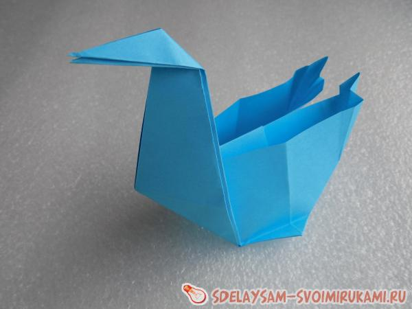 Коробочка лебедь из бумаги