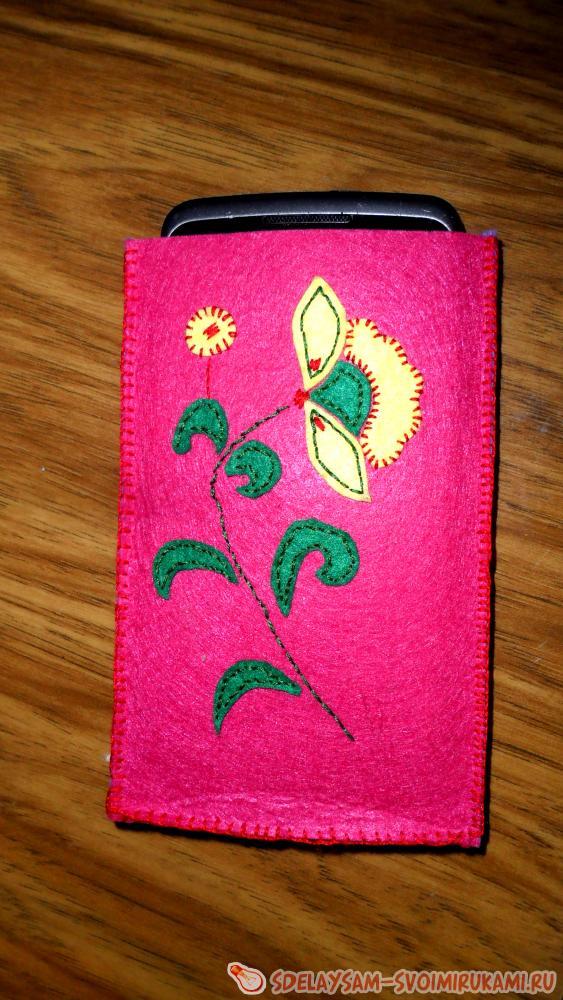 Фетровый чехол для сотового телефона