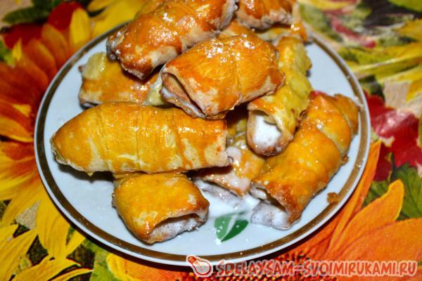 Сладкие трубочки с белково-сахарным кремом