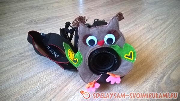 Сова-фотограф - игрушка на объектив фотоаппарата