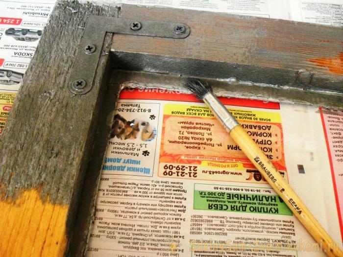 Paint the frame with gouache