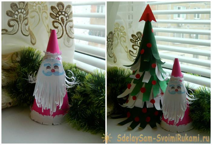 Дед Мороз из цветной бумаги