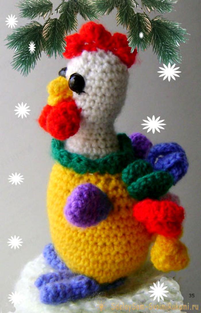 Вяжем новогоднего веселого петушка