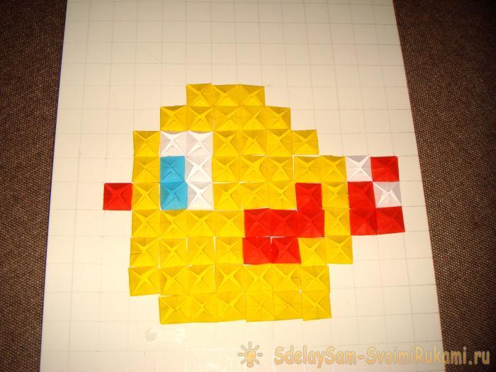 Петушок в технике оригами мозаика