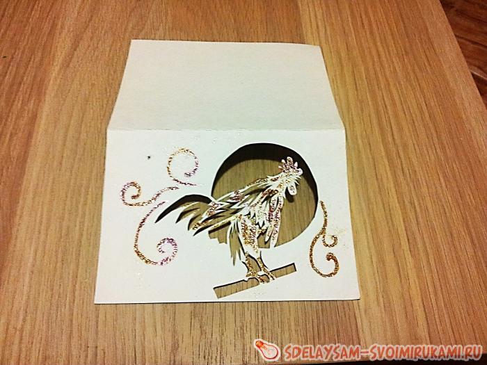 новогодняя открытка золотой петушок