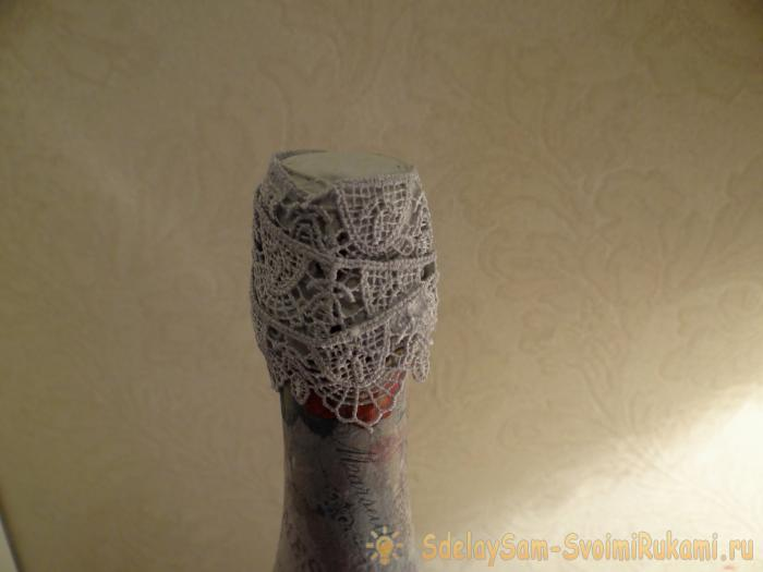 decoupage of a bottle of champagne