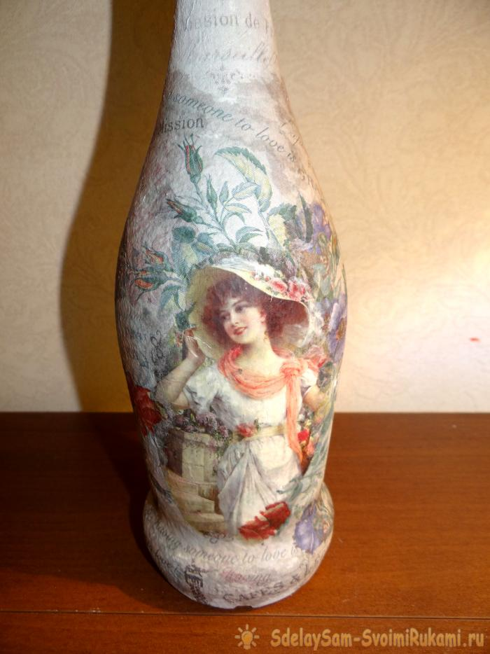 decoupage a bottle of champagne