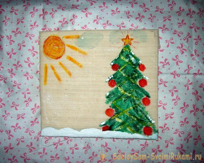 открытку из ткани в подарок своими рукам