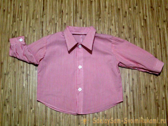 Шьём рубашку для малыша из маминой блузки