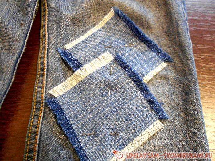 How to patch the jeans on his knees