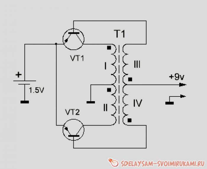 Схема 1.5 вольт 9 вольт