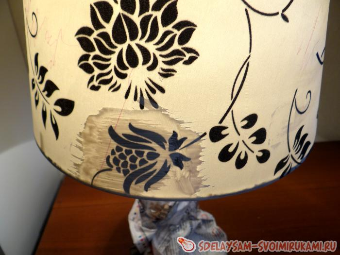 Restoration and decoupage of the lampshade