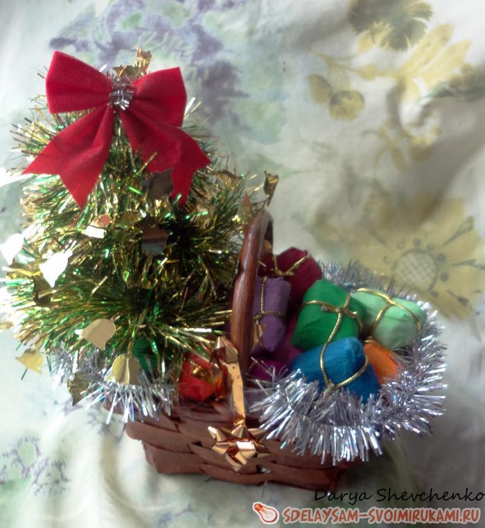 Мастер-класс конфетной композиции «Подарки под ёлкой»