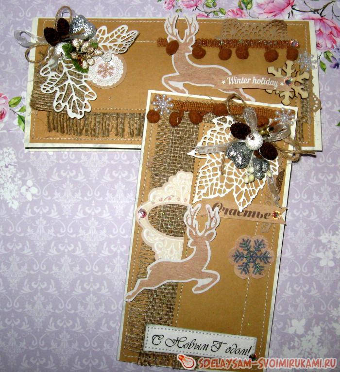 Новогодние открытки из крафт бумаги