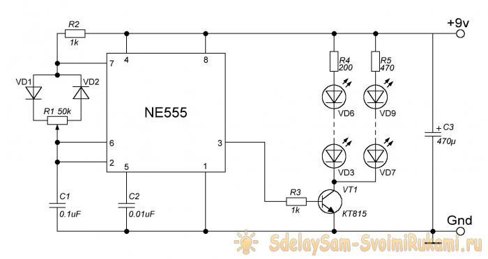 Простая мигалка на таймере NE555