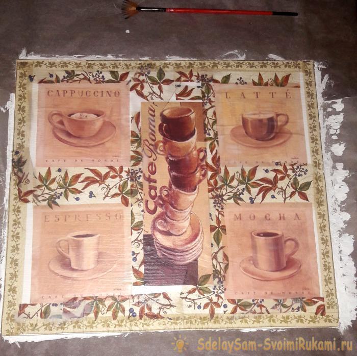 кофейная картина в технике декупаж