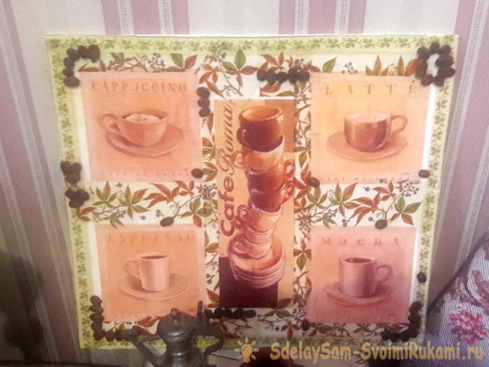 coffee pattern using decoupage technique
