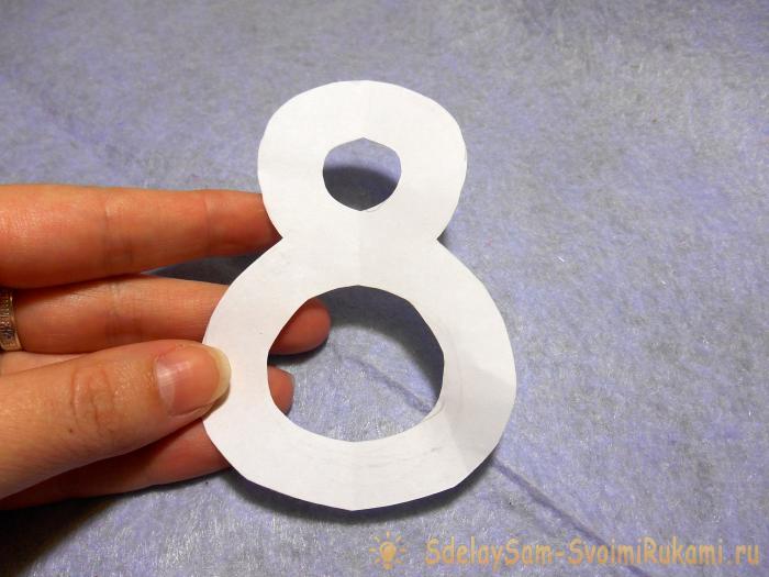 Открытки, открытка цифра 8 из картона