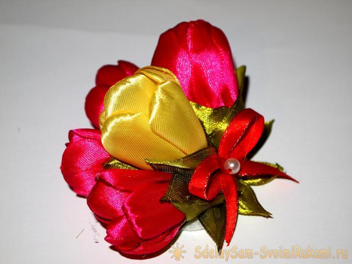 Тюльпаны из ленты своими руками 414