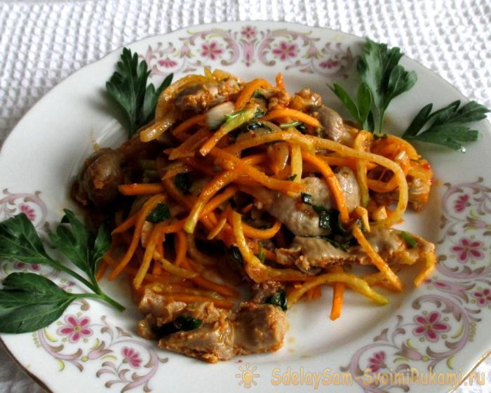 Warm chicken stomach salad