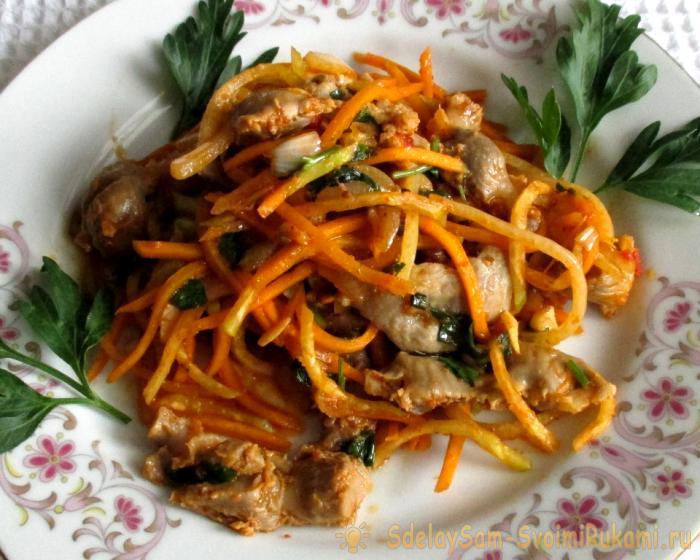 Тёплый салат из куриных желудков