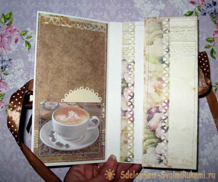 Кофейная открытка-шоколадница