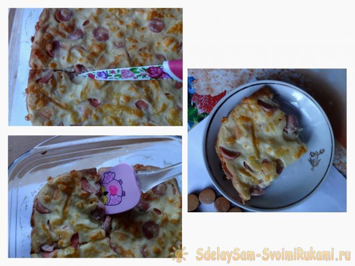 Самый вкусный пирог с сосисками и сыром
