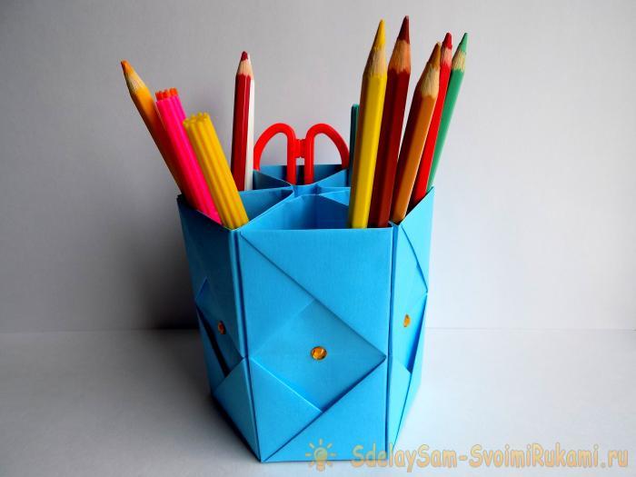 Оригами из бумаги ПОДСТАВКА ДЛЯ КАРАНДАШЕЙ - YouTube