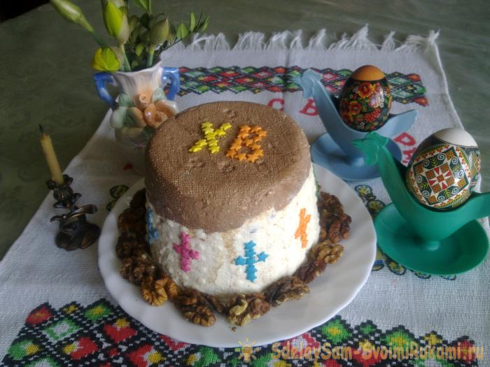Curd Easter with chocolate top