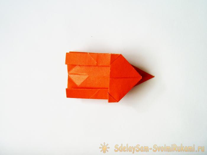 Бумажная коробочка оригами в виде котика