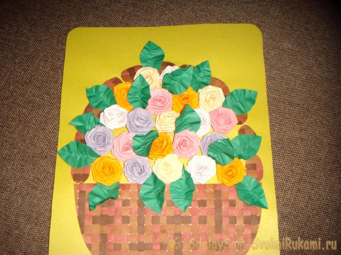 Greeting card with three-dimensional roses