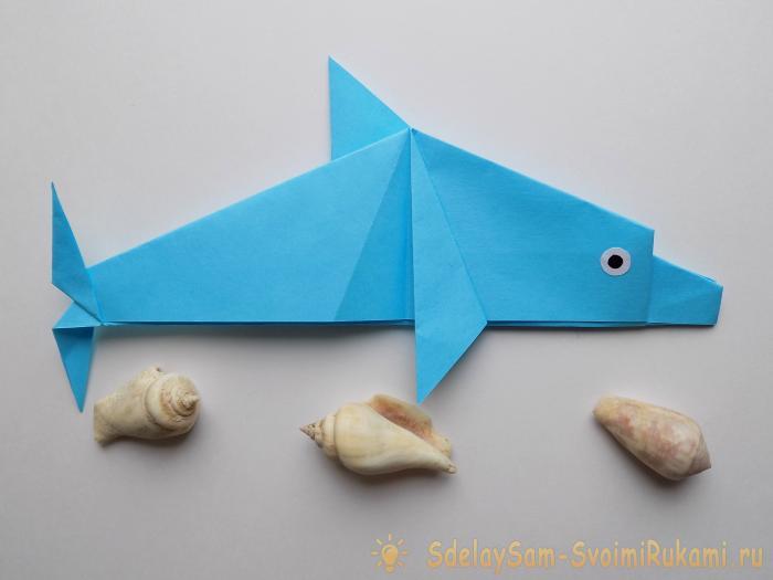 Как сделать дельфина из бумаги поэтапно
