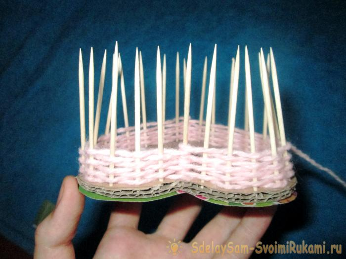 Basket Heart from threads and toothpicks