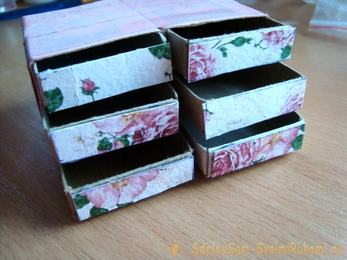 Chest of drawers from matchboxes
