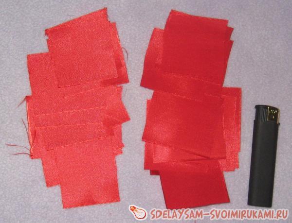 squares of satin ribbon