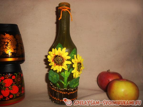 Декор бутылки «Золотые подсолнухи»