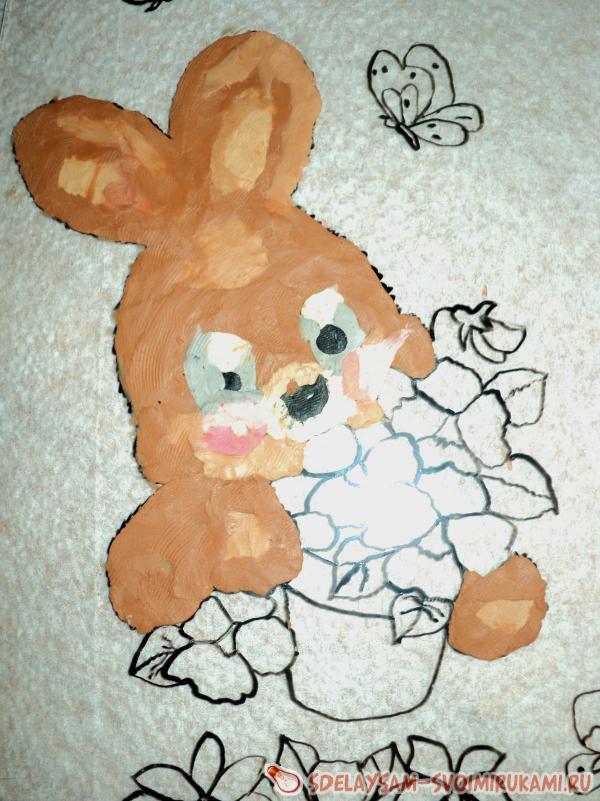раскрашиваем зайца