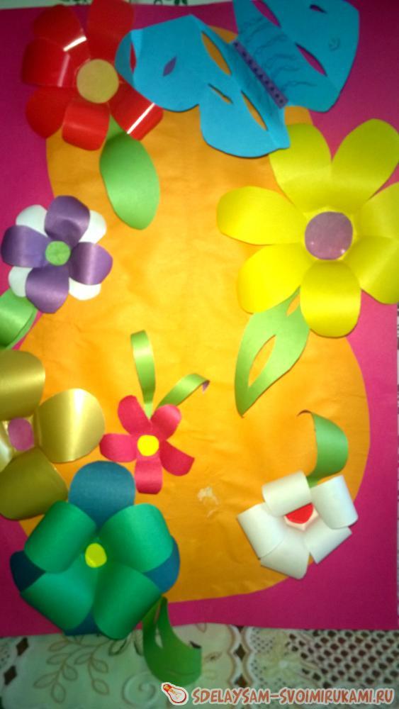 Оригинальная открытка на день рожденья с 3Д цветами