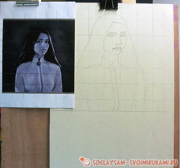 Как нарисовать портрет акрилом / рисунок акрилом