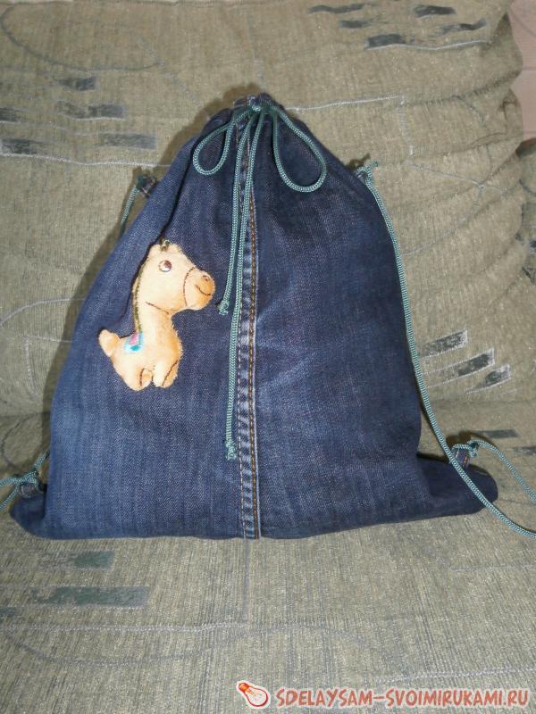 Children's denim backpack