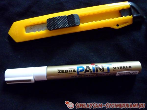 Перманентный маркер и нож