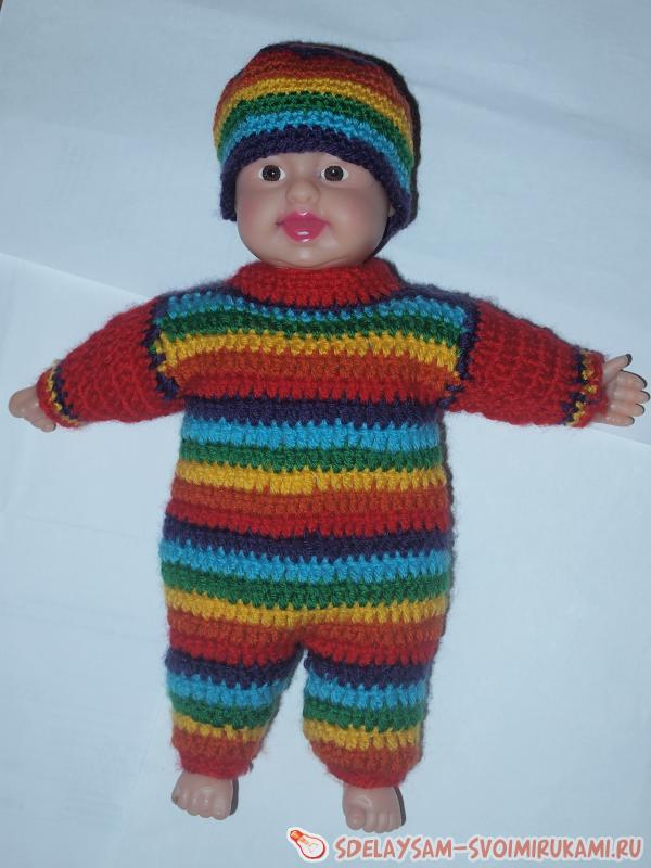 Riding Hood crochet suit on the baby doll
