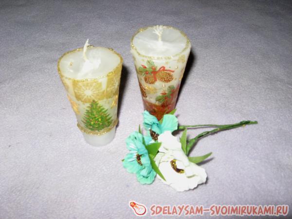 Изготовление и декупаж свечей