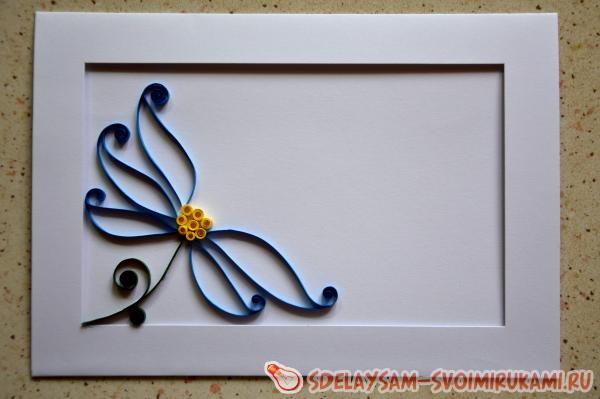 Квиллинг открытка Бабочка на цветке
