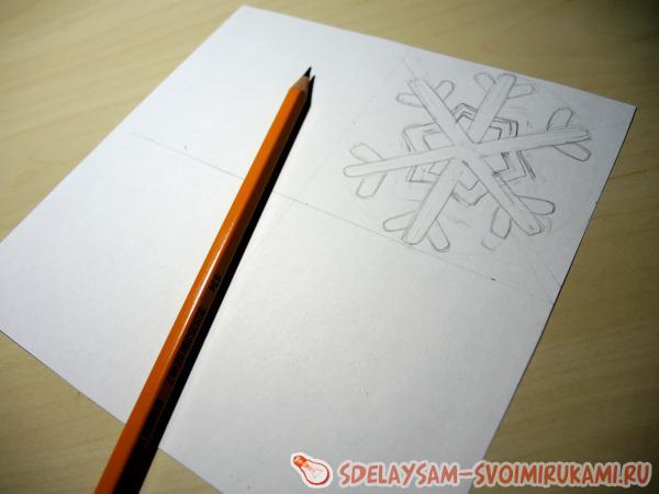 расчертим квадрат белой бумаги