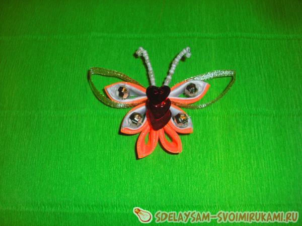 Заколка «Оранжевая бабочка»