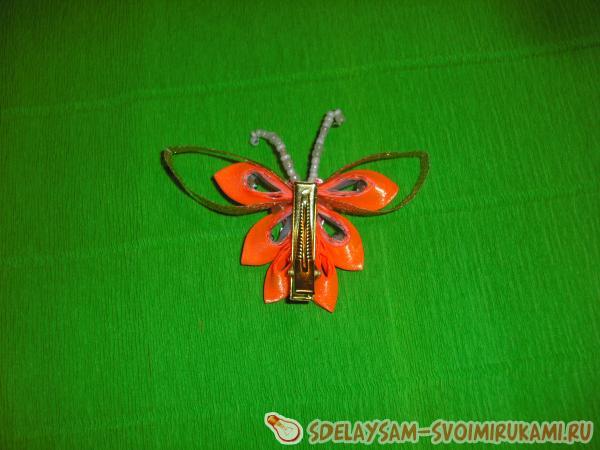 Заколка Оранжевая бабочка